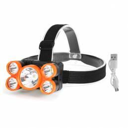 5LEDs T6 + 4XPE LED Faro de ciclismo 4 modos pesca Lanterna al aire libre cámping Impermeable Linterna frontal Lámpara
