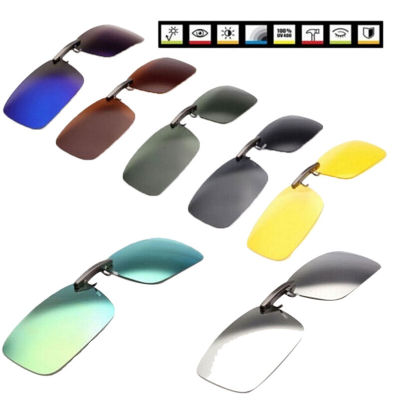 Clip polarizado para conducir Gafas Gafas de sol con visión diurna UV400 Lente Conducción Visión nocturna Clip para gafa