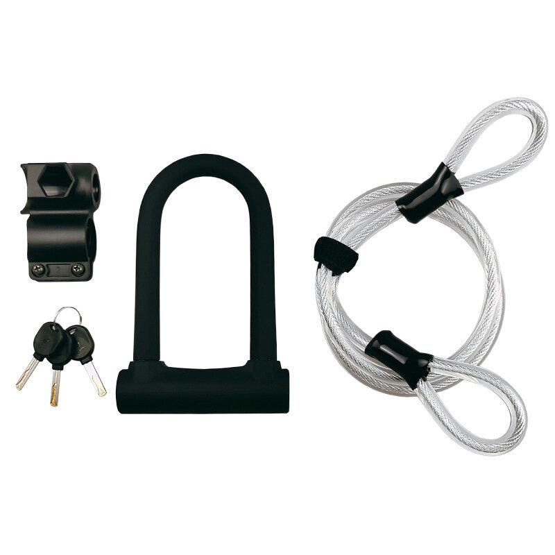 BIKIGHT Bike U cerradura Acero Cuerda Antirrobo cerradura Moto Cable para bicicleta eléctrica para scooter eléctrico cer