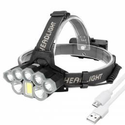 T6 + Q5 2000LM LED Impermeable Faro 18650 Batería Interfaz USB COB Linterna Bicicleta Ciclismo