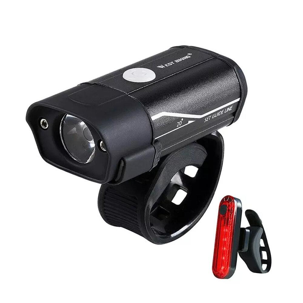 WEST BIKING 350lm Faro de bicicleta 5 modos Ultraligero USB recargable Delantero de bicicleta Lámpara al aire libre Cicl