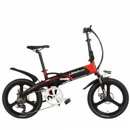 LANKELEISI G660 12.8ah 48V 400W 20 pulgadas Bicicleta de ciclomotor plegable 100Km Kilometraje Carga máxima 120kg Con en
