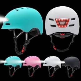 BIKIGHT Casco de bicicleta con luz LED Ultraligero 12 agujeros Ventilación Casco de ciclismo ajustable Faro de 3 modos C