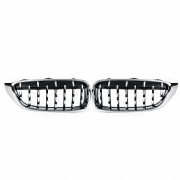 2 piezas de rejilla de riñón delantera de diamante cromada para BMW M4 F32 F33 F82 F83 2013-2017