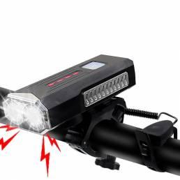 BIKIGHT 2 en 1 400LM 2xT6 Luz de bicicleta 3 modos Carga USB ajustable Bicicleta delantera Lámpara 6 modos Bocina de 120