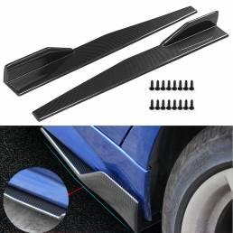 Par Fibra de carbono Modificado lado del coche Falda Rocker Splitters Difusor Alas de aleta Protector de parachoques 86C