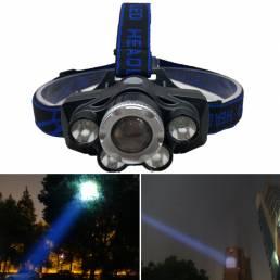 XANES® GD-11 2700LM 5XT6 Faro blanco azul cámping Ciclismo Caza Linterna de emergencia Linterna con zoom 18650 USB recar