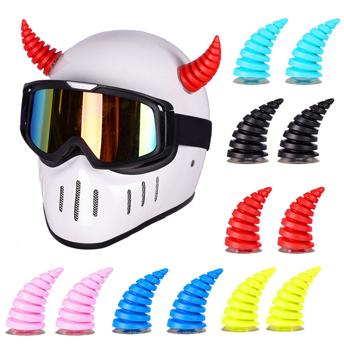 2 uds bicicleta MTB Moto casco con forma de cuerno pegatina ventosa Motocross todoterreno casco decoración fiesta Cospla