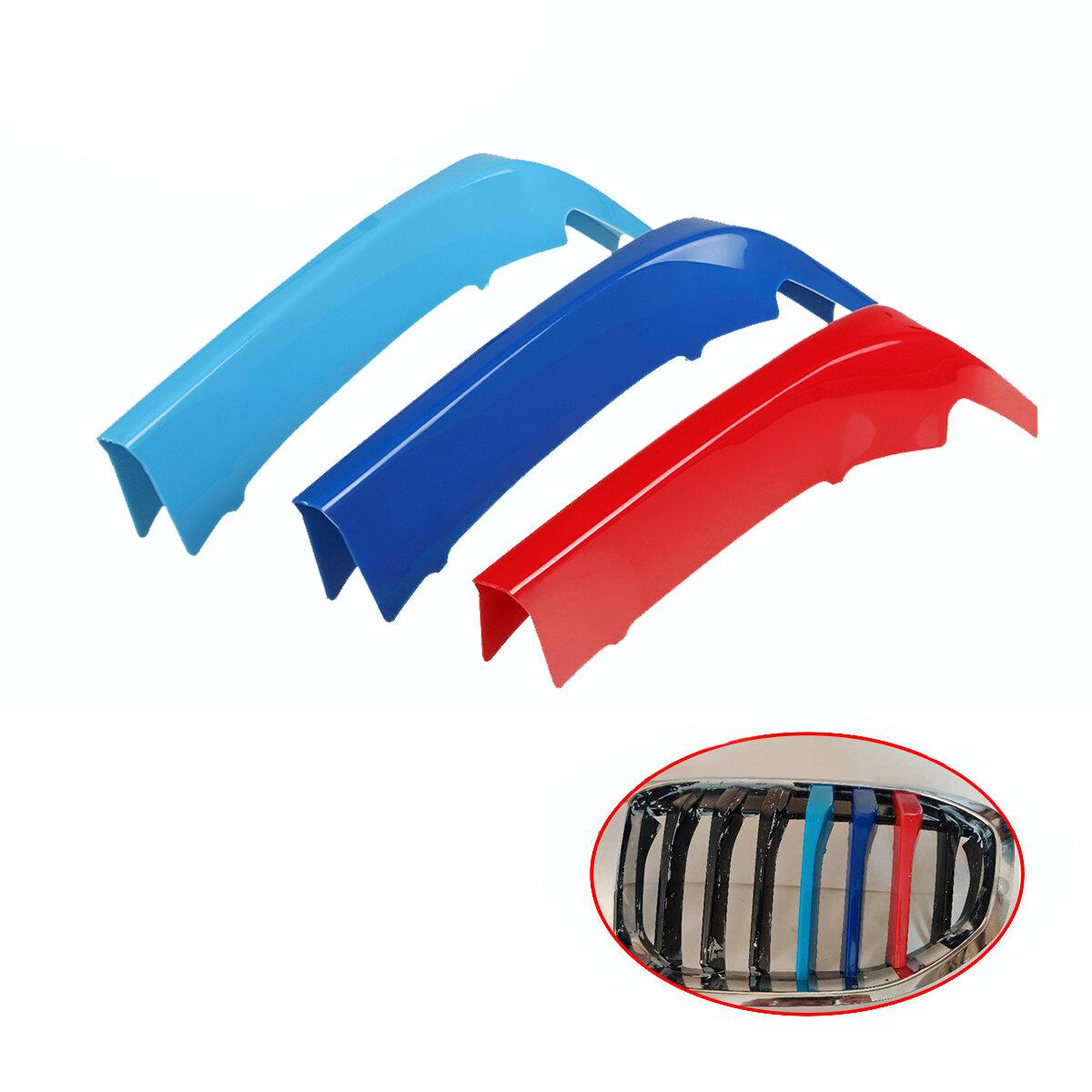 3 uds cubierta de rejilla frontal de riñón embellecedor Coche tira adhesiva de inserción de modificación para BMW 1 Seri