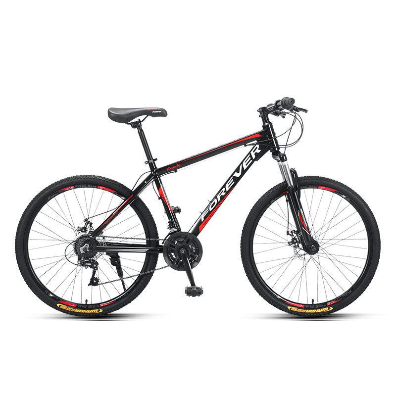 FOREVER Bicicleta de montaña de 26 pulgadas 24 velocidades Frenos de disco de línea de bajo alcance Bujes de doble cojin