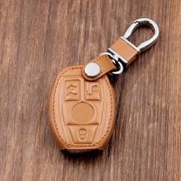 Cuero Coche llave Caso/Bolsa titular de la cubierta para Mercedes Control remoto llave inteligente 3 4 botón
