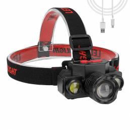 XANES® XPE + 2COB LED Linterna frontal USB recargable 4 modos Linterna con zoom Ciclismo pesca cámping Linterna frontal