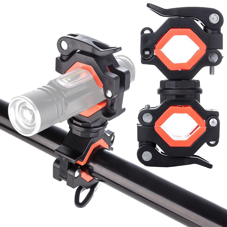 Rotación de 360 ° Soporte de luz de bicicleta Manillar LED Soporte de linterna Soporte de bomba Soporte Clip de faro Abr