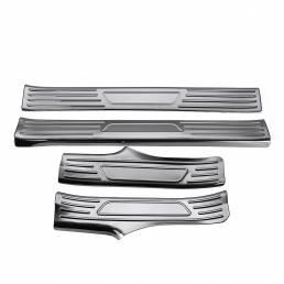 4Pcs Tira de umbral de panel de puerta de fibra de carbono Placa Etiqueta de cubierta Anti Rasguño para Tesla Modelo 3