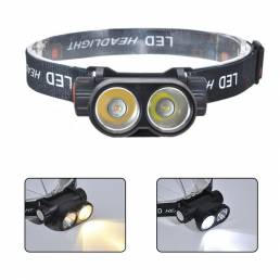 XANES® XPG + COB LED Faro delantero ajustable a 90 ° Linterna de fuente blanca + amarilla Carga USB Impermeable al aire