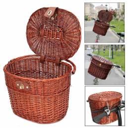 Cesta delantera de bicicleta de mimbre Willow vintage Caja Manillar para compras cámping Bicicleta de fruta para mascota