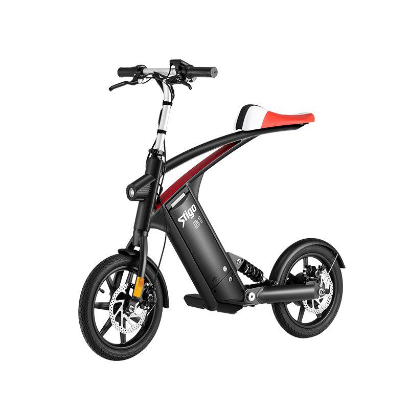 Stigo B1 10Ah 250W 14 pulgadas Bicicleta eléctrica plegable 25km / h 40-50km Kilometraje Doble Dics Freno LCD Exhibidor
