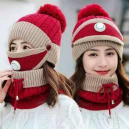BIKIGHT Cortavientos de punto de algodón Calor de invierno Lindo traje de protección para montar Gorros de bicicleta Esq