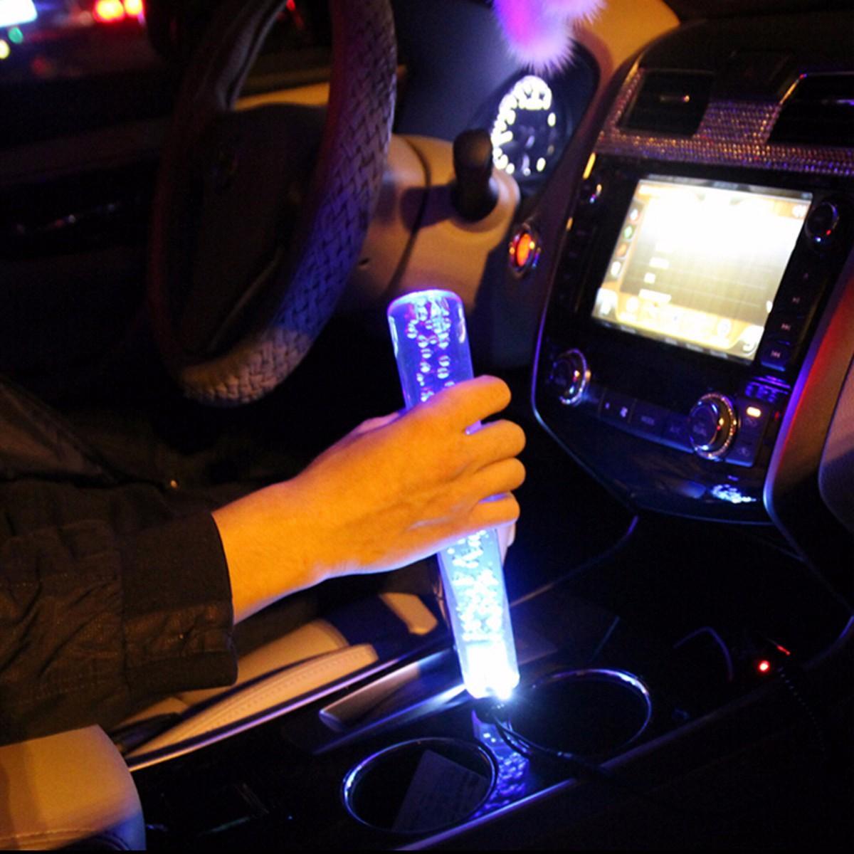 Burbuja de cristal con perilla de cambio de marcha universal de 250 mm y 12V con luz de respiración azul LED