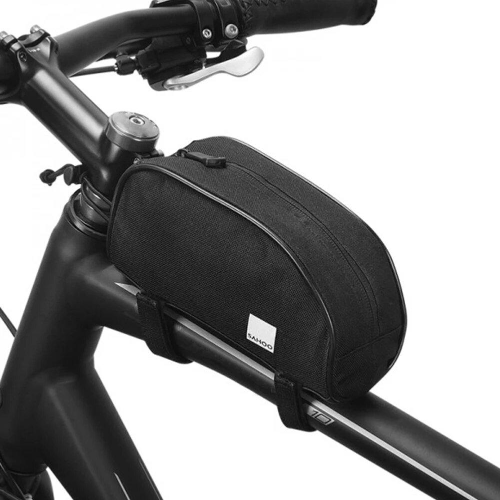 SAHOO 12654-SA MTB Bolsa Paquete de accesorios de bicicleta Bolsa de ciclismo con tubo superior para bicicleta M365 Bols