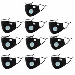 10 PCS Modelo de resorte adulto de 5 capas con válvula de respiración Protección negra completa Mascara PM2.5 Respirador