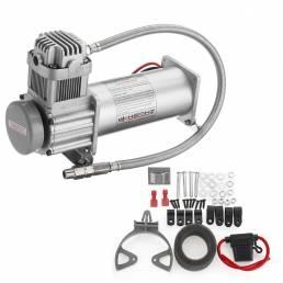 12V 200 PSI Compresor de aire plateado 1/4  Manguera Conjunto con interruptor de relés para Coche Suspensión d