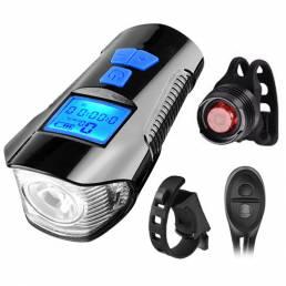 BIKIGHT Impermeable Luz de bicicleta Carga USB Luz delantera de bicicleta + Luz trasera Manillar Luz de cabeza de ciclis