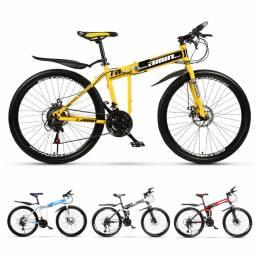 AMIN T3 26 Inch Bicicleta de montaña plegable de 21 velocidades Freno de disco doble Absorción de golpes Bicicleta todot