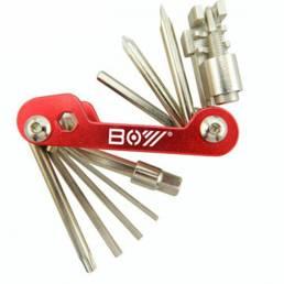 BOY 8050A Kit de reparación multiusos 12 en 1 bicicleta Hexagon Destornillador Juego de cadena Abrazadera Splitter herra
