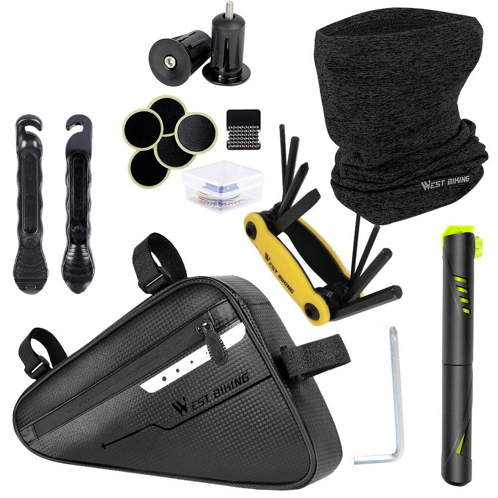WEST BIKING Kit de reparación de bicicletas herramientas Bomba de aire Bicicleta Bolsa Pasamontañas Bufandas Multiherram