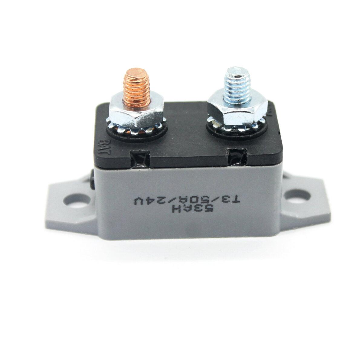 Disyuntor de reinicio manual 20 30 40 50 AMP Perno de perno Tipo Fusible doble Batería 14-28 V para camión Coche barco