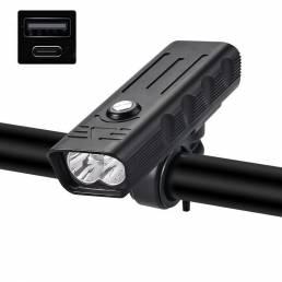 XANES® LV-F004 1 / 2xT6 Faro de bicicleta USB recargable MTB Bicicleta LED Delantero Lámpara 4 Modos Impermeable Lintern