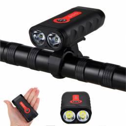 XANES DL13 1800LM 2*XM-L2 Luz Delantera de indicador de la Batería 4400mAh Recargable