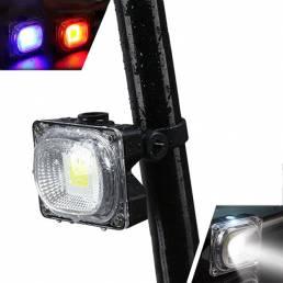 XANES TL05 500LM COB Bead Luz blanca / azul / roja 3 modos Impermeable Luz trasera de bicicleta recargable USB