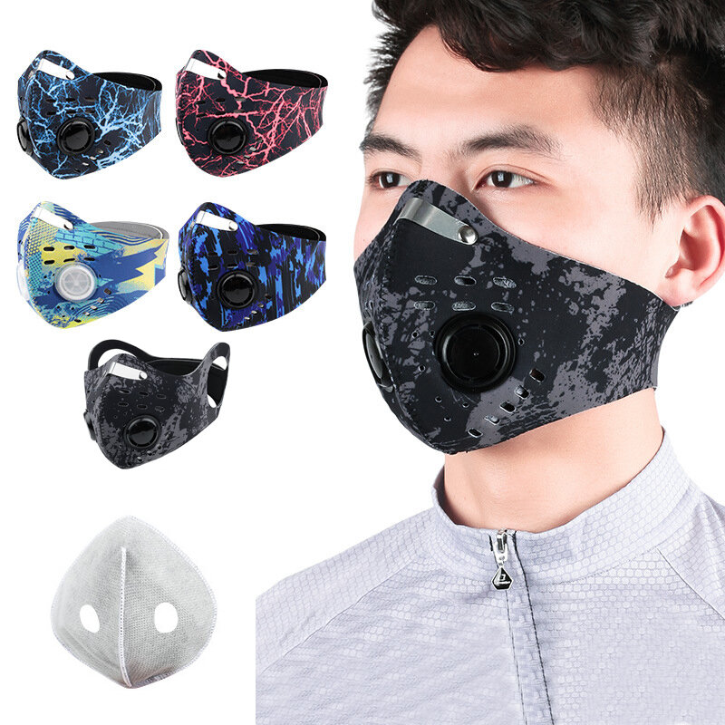 Ciclismo al aire libre Cara transpirable a prueba de polvo Mascara Con válvulas de respiración Anti Niebla PM2.5 Deporte