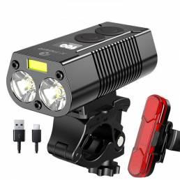 750LM Faro de bicicleta USB recargable Impermeable Delantero de bicicleta Lámpara Banco de energía Luz de bicicleta al a