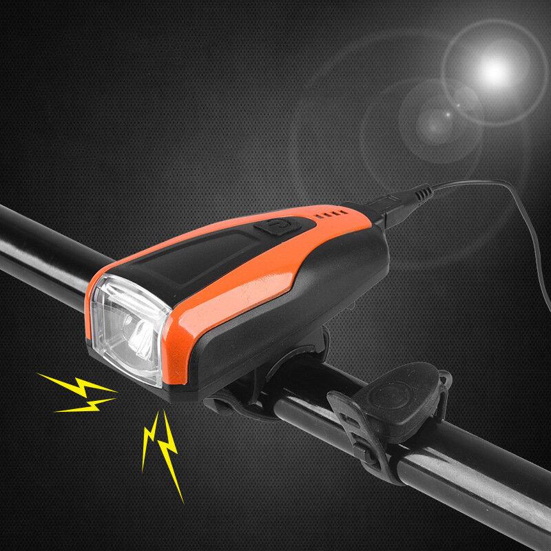 250lm Faro de bicicleta 3 modos Ajustable USB Recargable Delantero de bicicleta Lámpara Bocina de 150 dB al aire libre C