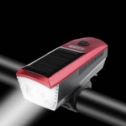 Energía solar recargable USB T6 Luz de bicicleta multifunción 4 modos Impermeable 350LM 120dB Bocina Súper brillante Far