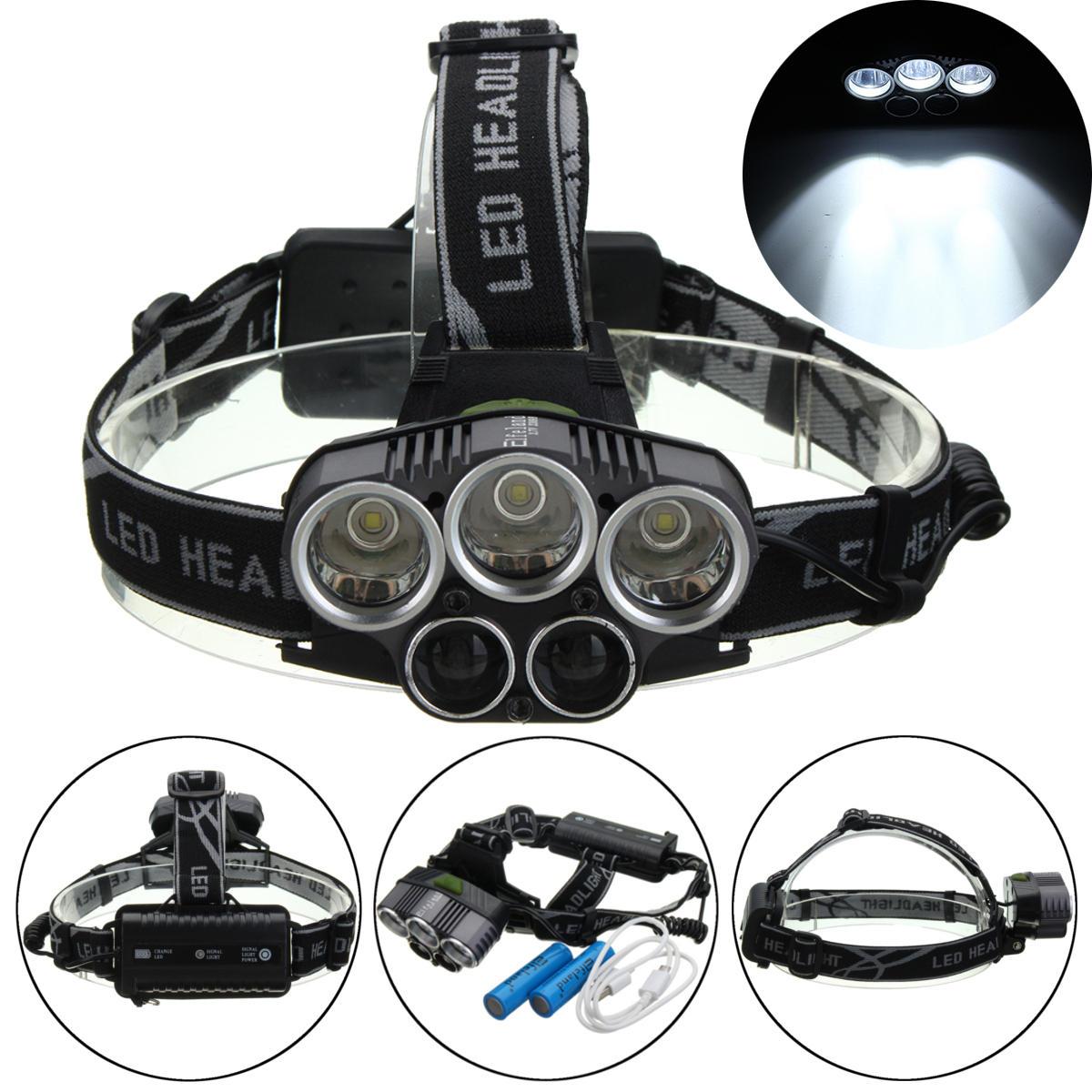 BIKIGHT TH-124 3000LM 5xT6 LED Linterna frontal recargable con USB Antorcha con zoom cámping Luz de advertencia de cicli