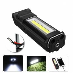 400LM 2LED + COB Plegable Coche Luz de mantenimiento USB Linterna recargable Bicicleta Ciclismo Luz de trabajo de advert