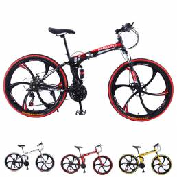KAIMARTE 26 Inch Bicicleta de montaña plegable de 21 velocidades Off-road BMX Bikes Frenos de doble disco Bicicletas de
