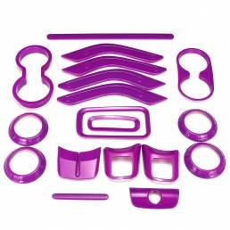18 unids púrpura Coche moldura accesorios de tira de ajuste para Jeep JK JKU 4door 2011-2017