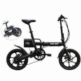 CMSBIKE F16 36V 7.8AH 250W Negro 16 Pulgadas Bicicleta Eléctrica Plegable 20 km / h 65 KM Sistema de Velocidad Variable