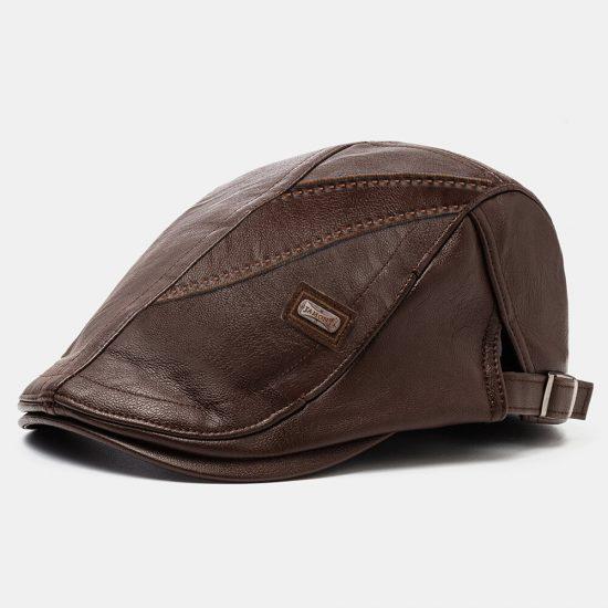 Collrown Hombres PU Cuero Retro Casual Color sólido Vendedor de periódicos Sombrero Adelante Sombrero Boina Sombrero