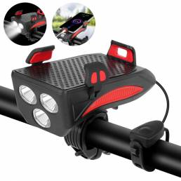 Luz de bicicleta XANES® 4 en 1 400LM + bocina USB Lámpara + retención de teléfono + banco de energía 3 modos LED Faro 5
