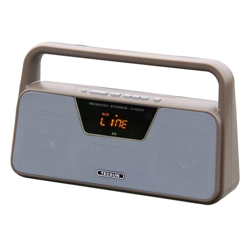 TECSUN A9 FM estéreo Radio Recepción LED Digital Pantalla Reproductor de MP3 Altavoz portátil Radio U Disco TF Tarjeta