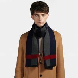 Hombres Cashmere Casual Universal Business Stripe Lattice Patrón Keep Warm Bufanda de color de contraste