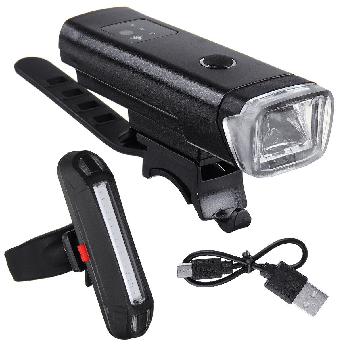 BIKIGHT 350Lm 1200mAh táctil sensible a la luz LED Juego de luces de bicicleta de carga USB Faro de bicicleta con luz tr