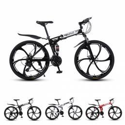 MYNUO 26 Inch Bicicleta de montaña plegable de 21 velocidades Frenos de disco dobles Doble amortiguador Bicicleta todote
