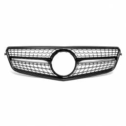 Para Mercedes Benz C-Class W204 2008-2014 Rejilla Delantera Glossy Black Diamond Style